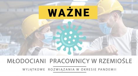"""""""Młodociani  pracownicy w rzemiośle - wyjątkowe  rozwiązania w okresie pandemii"""""""